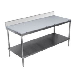 Poly Top Work Tables with Undershelf and Backsplash