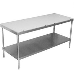 Poly Top Work Tables with Undershelf without Backsplash