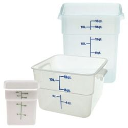 Square Translucent Food Storage Containers and Lids